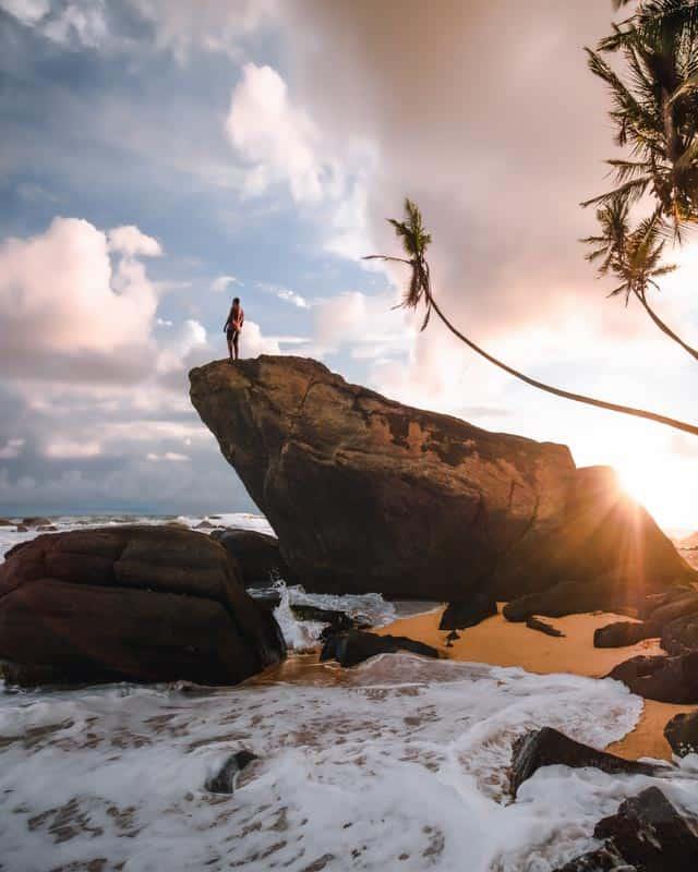 ship-rock-dalawella-beach-sri-lanka-sunset