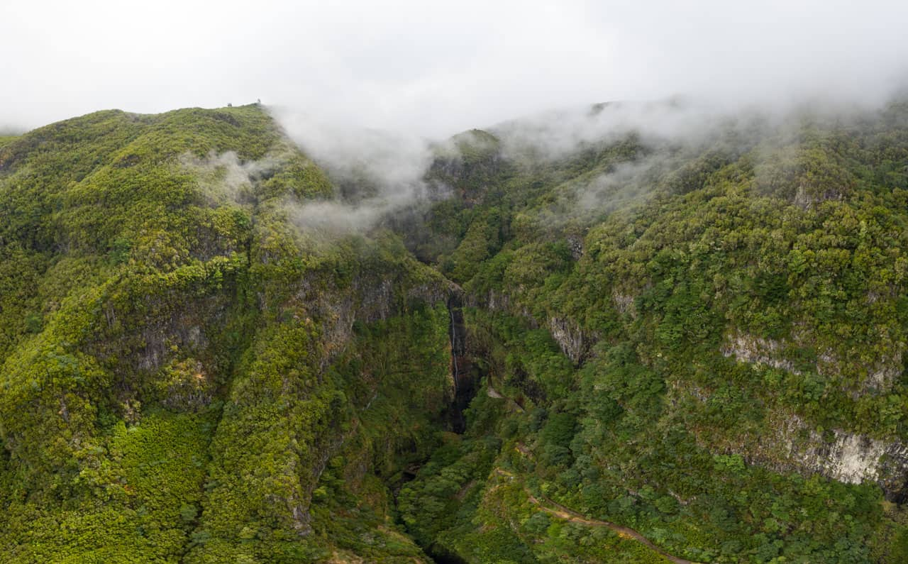 levada-do-alecrim-waterfall-valley-drone